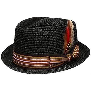 Men s Premium Straw Porkpie Fedora Hat  L/XL Black