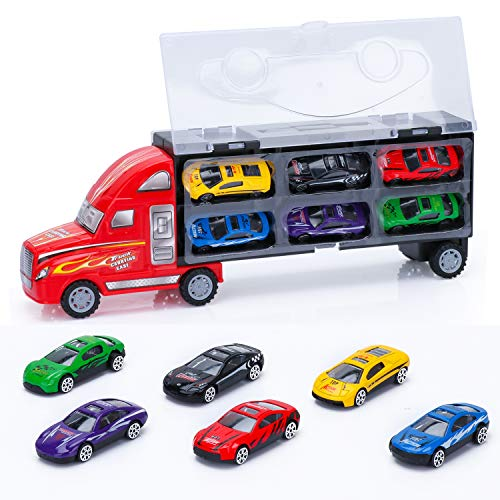 Car Carrier Truck Toys for Kids,Die-Cast Vehicles Car Carrier Truck Toy for 3 4 5 6 7 Years Old Boys Including 6 Mini Alloy Metal Cars,Potable Transport Car Truck Toy Playset Best Gifts for Toddler.