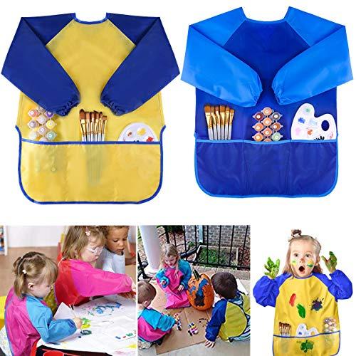 Bastelschürze für Kinder - WENTS Wasserdichte Malschürzen, von 4-8 Jahren, mit langen Ärmeln und Klettverschluss, 2 Stücke (gelb und blau), perfekt zum Malen, Basteln, Kochen