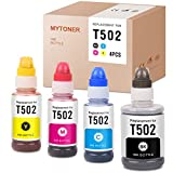 MYTONER Compatible Ink Bottle Replacement for Epson T502 502 Refill for ET-4760 ET-4750 ET-2760 ET-3710 ET-3760 ET-2700 ET-2750 ET-3700 ET-3750 ST-2000 ST-3000 ST-4000 (Black, Cyan, Magenta, Yellow)