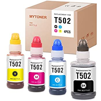 MYTONER Compatible Ink Bottle Replacement for Epson T502 502 Refill for ET-4760 ET-4750 ET-2760 ET-3710 ET-3760 ET-2700 ET-2750 ET-3700 ET-3750 ST-2000 ST-3000 ST-4000  Black Cyan Magenta Yellow