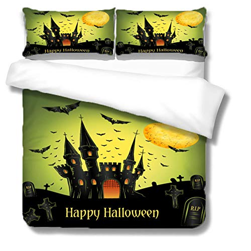 Three-piece bedding Halloween castle Trendy 3D Striped Pattern 3 pieces Quilt with Zipper Duvet Cover Set King Set including Pillowcases Closure Easy Care Washable-220x240cm