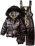 Catherine Malandrino Baby Girls' 2 Piece Snowsuit Set, Black, 12 Months