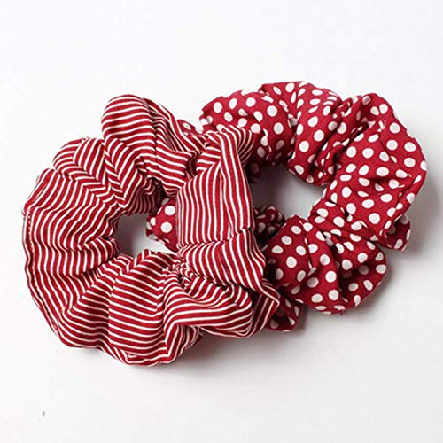 OULN1Y Bandeaux 2pcs/lot Stripes And Dots Elastic Scrunchies New Hot Ponytail Holder Hairband Hair Rope Tie Fashion Stipe Women Girls,red