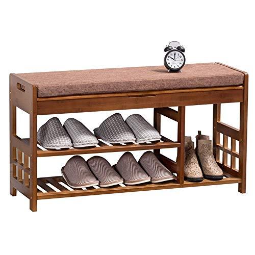Cenpen Zapatero for Puerta de entrada del organizador del almacenaje Con asiento acolchado for sala de estar Pasillo de bambú banco zapato de 3 niveles zapatero zapatero de madera (color, tamaño: 90x2
