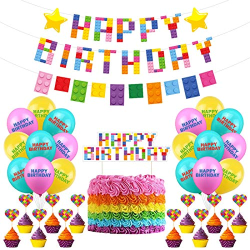 Bloques de construcción temáticos suministros de fiesta ZSWQ-coloridos patrones de ladrillo y bloques,Globos y Primeros de la Torta para Niño Niños Cumpleaños Baby Shower