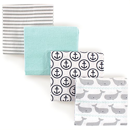Hudson Baby Unisex Baby Cotton Flannel Receiving Blankets, Gray Whale, One Size Blankets Receiving