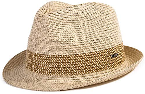 Summer Fedora Panama Beach Hats Men Women Straw Sun Hats Short Brim Casual Foldable Cuban 56-59CM Beige