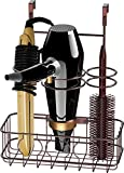 SimpleHouseware Cabinet Door / Wall Mount Hair Dryer & Styling Tools Organizer Storage, Bronze