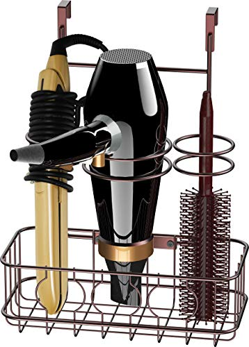 SimpleHouseware Cabinet Door / Wall Mount Hair Dryer & Styling Tools Organizer Storage, Bronze