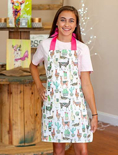 Handmade Lovely Llama Tween Girl Apron Gift for Kitchen Crafts or Art