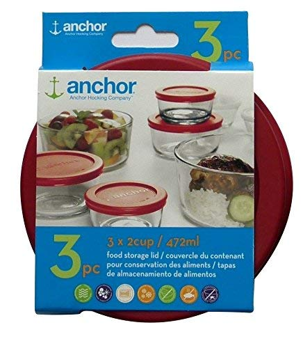 Anchor Hocking Replacement Lid 2 Cup / 472 ml, Set of 3 lids, red Round