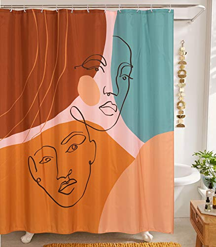 YoKII Aesthetic Terracotta Fabric Shower Curtain, Minimalist Abstract Modern Shapes Line Art and Human Faces Bathroom Shower Curtain Sets Vintage Cute Scandinavian Bath Curtain (Colorful, 72 x 72)