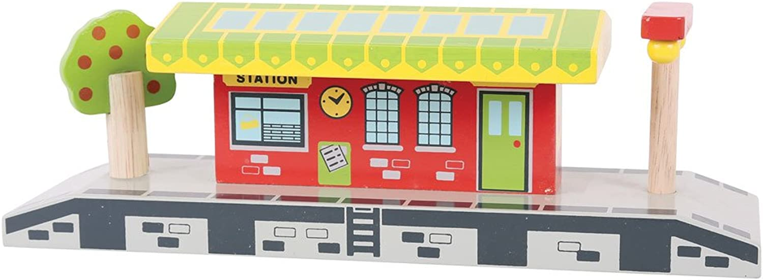 Bigjigs Rail Village Station  Other Major Wooden Rail Brands are Compatible