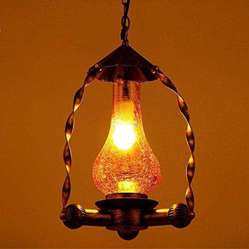 Romantic geel glas dubbele gebruik hanglamp licht eenkop energiebesparing kroonluchter warm voor hal 309