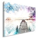 Feeby. Cuadro en lienzo - 1 Parte - 50x70 cm, Imagen impresión Pintura decoración Cuadros de una pieza, PUENTE, NATURALEZA, MODERNO, BLANCO