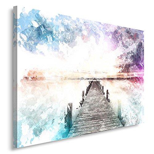Feeby. Cuadro en lienzo - 1 Parte - 70x100 cm, Imagen impresión Pintura decoración Cuadros de una pieza, PUENTE, NATURALEZA, MODERNO, BLANCO