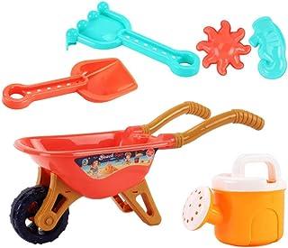TOYANDONA 6 Pcs/ Set Garden Toy Beach Sand Toy with Wheelbarrow Watering Can Plastic Rake Shovel Sand Mold Outdoor Sand To...