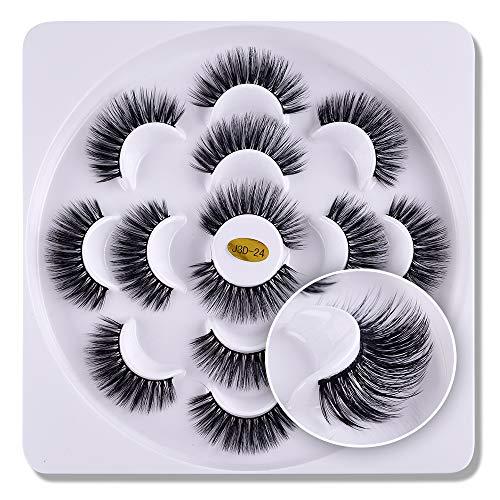 7 paires 3D cils vison Fluffies à la main Wispies Styles mélangés Naturel Longs Faux Cils(02)