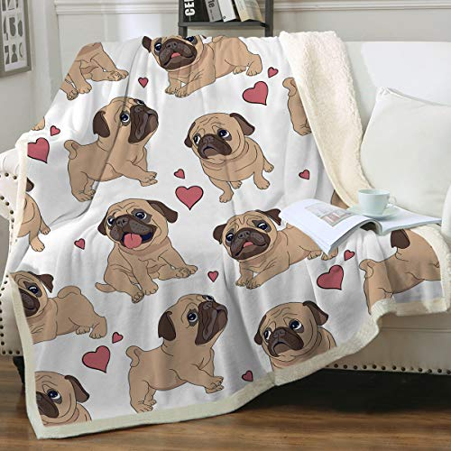 "Sleepwish Pug Fleece Blanket Teen Girls Boy Fuzzy Throw Blankets Dog Reversible Blanket Soft Sherpa Blanket Cute Animal Plush Blanket Valentine Blanket Gifts for Pug Lover Adults Women (50""x 60"")"