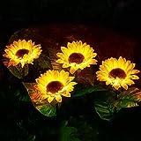 4 Pack Outdoor Solar Garden Sunflower Lights,Upgraded 28'' LED Solar Powered Light with Waterproof Solar Decorative Ideas Lights for Garden, Patio, Backyard