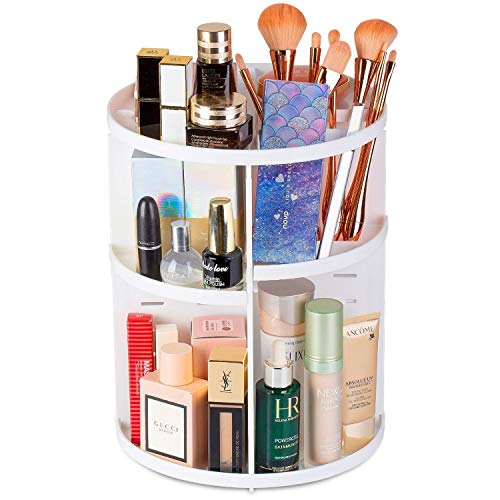 Rotating Makeup Organizer - 360 Spinning Makeup Organizers Storage Lazy Susan Rack for Perfume, Nail Polish - Premium Makeup Brush Holder for Dresser Vanity, Bathroom, Countertop - 7 Adjustable Layers with 4 Trays for Cosmetics, Brushes, Creams - White