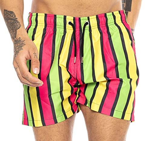 Redbridge Herren Badehose Badeshorts kurz schnelltrocknend Neon Vertical Stripes Gelb-Grün-Pink XL