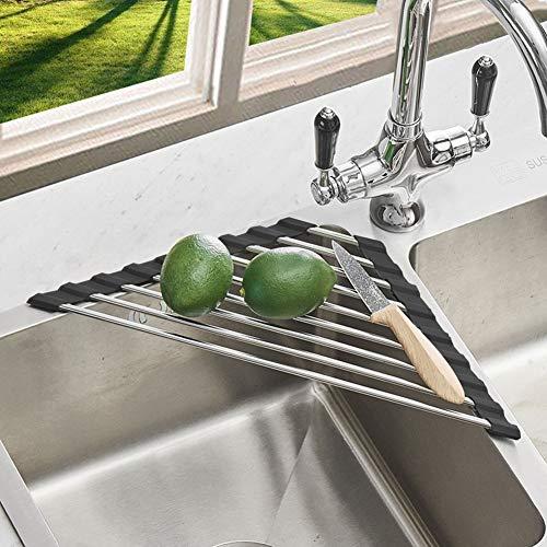 Anti-Rust Stainless Steel Caddy Sponge Holder, Multi-function Roll-up Drying Rack for Sink Corner Kitchen (Black)