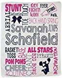 Personalized Custom Cheer Sports Throw Blanket for Adults, Teens, Children & Kids! Fun, Bright Graphics Blanket