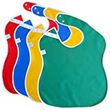 Toppy Toddler Large Waterproof Baby Bibs. Better Snap Buttons. Bib Easily Wipes Clean! Gift Set Sizes for Girls and Boys, Feeding Ages 18-48 Months (4-Pack/Red, Blue, Green, Yellow)