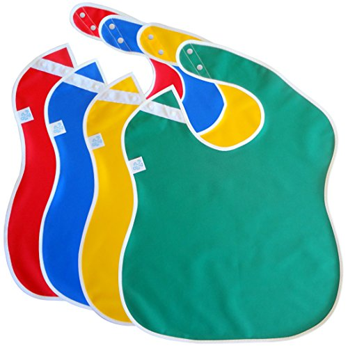 Toppy Toddler Large Waterproof Baby Bibs with Snap Buttons, Boys and Girls Bib Packs, 1-4 years