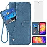 Compatible with Xiaomi Redmi Note 7/7Pro Wallet Case and Tempered Glass Screen Protector Flip Cover Credit Card Holder Stand Cell Phone Cases for Xiami Xiomis Xiome Redme Note7 Pro 7s Women Men Blue