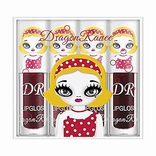 4pcs / set Berry Color Liquid Lipgloss, süße feuchtigkeitsspendende flüssige Lippenset, Spiegeloberfläche Wasserglanz Glas Schöne Lippenstifte Set, weibliche Lip Glaze Box Set
