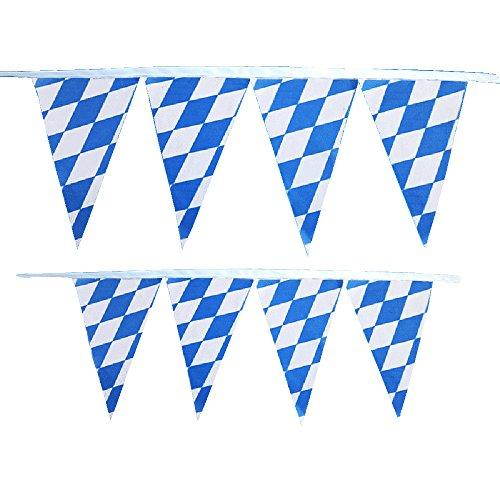 MIRRAY 10m Seppelhut Oktoberfest Bayern blau weiß Karneval Flagge 30 Seiten String Flag (Blau, 10M)