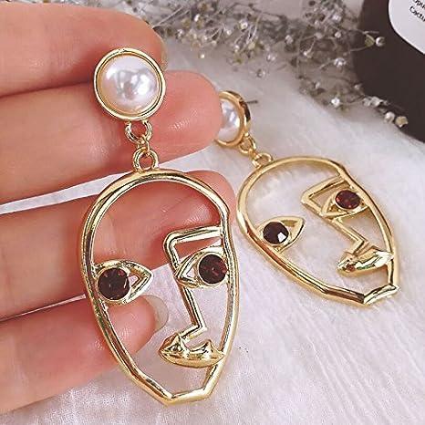 Greendou Human Face Dangle Earrings Drop Hoops Studs Cuffs Ear Wrap Pin Vine Dangling Hollow Out Charms Jewelry Gold
