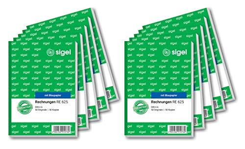SIGEL RE625/10 Rechnungen A6, 2x50 Blatt, 10er Pack