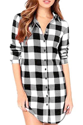 Beaii Damen Karierte Bluse Langarm Oversize Hemd Button Longshirt Cardigan Top