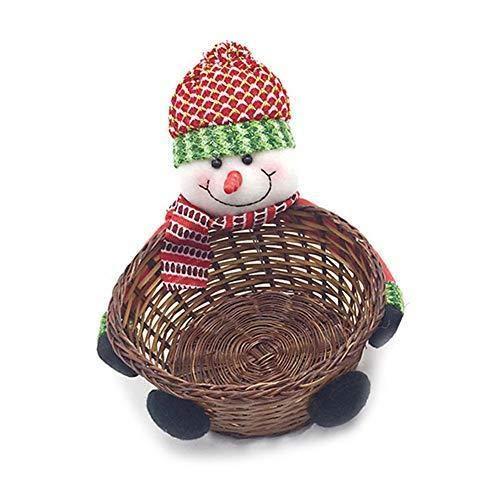 Depory Bambou Panier de Noël, Père Noël Candy Panier, boîte de Rangement de Bureau, Panier Cadeau, décoration de Noël, Apple Sac