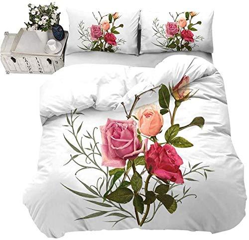 Hqooaceo® Ropa De Cama 3D Colorido Rosa Flor Rama Hoja Patrón Rey (240 X 220 Cm) 3 Piezas Juego De Funda De Edredón Comodo Nórdica Niño Chica + 2 Fundas De Almohadas 50X75Cm