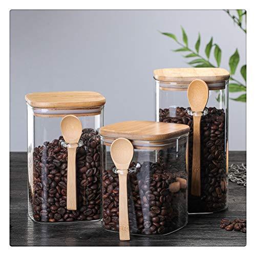 Aiglen Caja de Almacenamiento de Cocina de 3 Piezas de tamaño 800-1200 ml, con Tarro de café en Grano de Caramelo enlatado Sellado de Vidrio Transparente, con Cuchara y Tapa de bambú