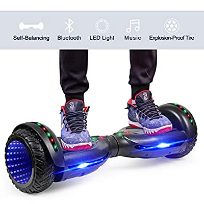 """LIEAGLE Hoverboard, 6.5"""" Self Balancing Scooter Hover Board with UL2272 Certified Wheels LED Lights for Kids Adults(A06 Black)"""