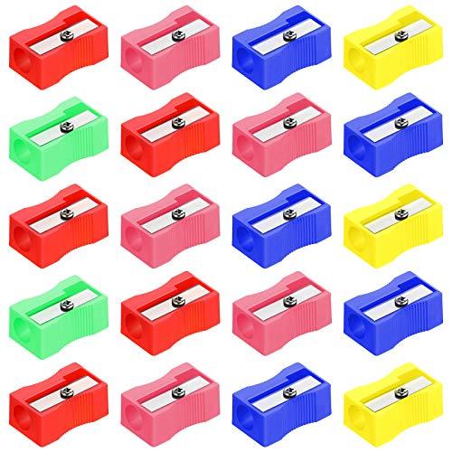 20 Pieces Plastic Pencil Sharpeners Assorted Colors Pocket Size Pencil...