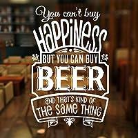 あなたは幸せを買うことはできませんが、ビール引用壁ステッカービニールビールパブショップウィンドウ装飾デカールリムーバブル壁画42x65cmを購入することができます