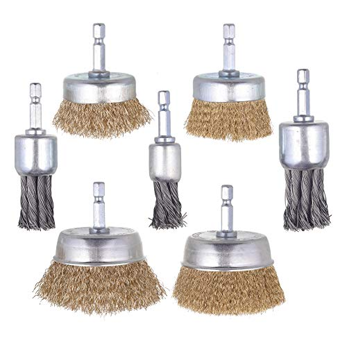 Mixiflor 7 Pack Wire Cup Brush End Brush Set,Wire Brush for Drill 1/4 Inch Hex Shank, Wire Cup Brush and Copper Cup Brush Perfect for Removal of Rust/Corrosion/Paint