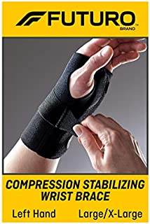 FUTURO-MMM-352 Compression Stabilizing Wrist Brace, Helps Support Sprains, Strains, and Symptoms of Carpal Tunnel Syndrome, Large/X-Large - Black