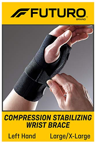 Futuro Energizing Wrist Support, Helps Relieve Symptoms of Carpal Tunnel Syndrome, Moderate Stabilizing Support, Left Hand, Large/X-Large, Black