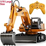 Eholder RC Excavator Toy Trucks for Kids Boys Full Function Remote Control Construction Vehicles 2.4GHz 9 Channel Rechargeable Remote Control Digger Birthday Xmas Gift (Super Large Excavator)