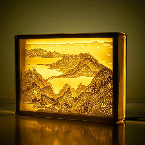 3D Light and Shadow Paper Carving lamp Decoration Finished Ancient Style Three-Dimensional Cultural and Creative Desk lamp Bedside lamp Custom Birthday fuchun Mountain Dwelling map Button Switch