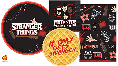 Stranger Things Party Supply Set with Paper Plates, Napkins, and Table Cover for 8 by Amscan