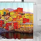 Italia Génova cortina de ducha viaje baño decoración conjunto con ganchos poliéster 72x72 pulgadas (YL-03132)